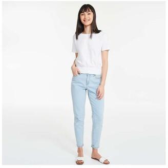 Joe Fresh Women's Smocked Hem Tee, White (Size S)