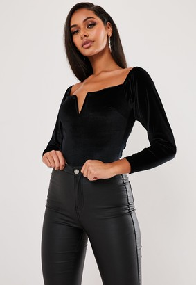 Missguided Black Velvet V Bar Square Neck Bodysuit