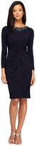 Alex Evenings 1351271 1351271 Embellished Neck Long Sleeves Twist-Front Dress