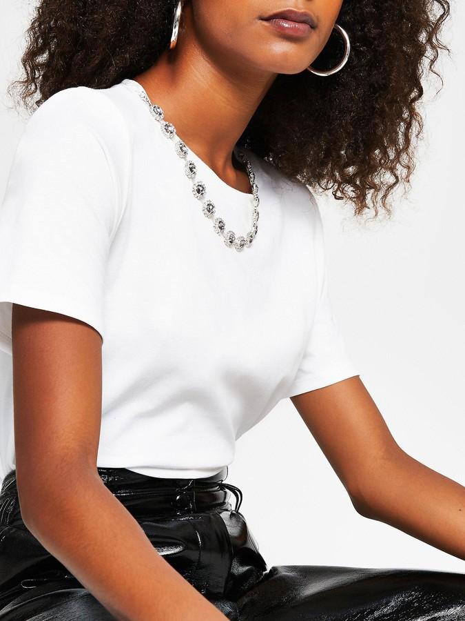 River Island Necklace Chain T-shirt - Cream