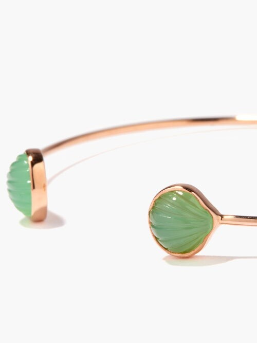 Thumbnail for your product : Dezso 18kt Rose-gold & Chrysoprase Shell Cuff - Multi