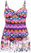 Ibeauti Women's Plus Size Tassel Dress Swimwear Swimsuits One Piece with Fringe