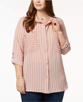 NY Collection Plus Size Oversized-Pocket Utility Shirt