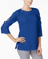 JM Collection Textured Cutout-Sleeve Top, Created for Macy's