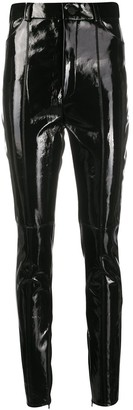 David Koma Leather Straight-Leg Trousers