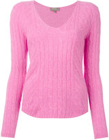 N.Peal cashmere diagonal cable V-neck jumper - women - Cashmere - L