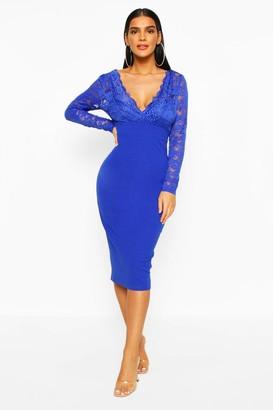 boohoo Long Sleeve Lace Top Midi Dress
