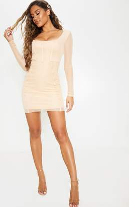 PrettyLittleThing Fawn Sheer Mesh Square Neck Binding Detail Bodycon Dress