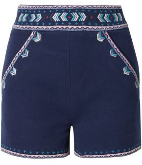 Talitha Collection Embroidered Cotton-twill Shorts