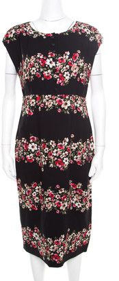 Dolce & Gabbana Black Floral Printed Crepe Sheath Midi Dress M