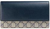 Gucci GG Supreme Continental Wallet, Blue/White