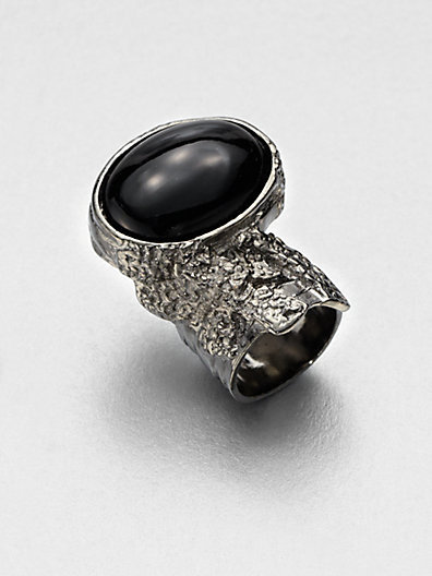 Saint Laurent Antique-Inspired Silvertone Arty Ovale Ring