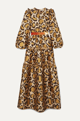 Anna Mason - Christy Tiered Velvet-trimmed Leopard-jacquard Gown - Mustard