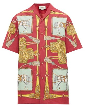 Gucci Baroque Equestrian Print Mesh Lined Shirt - Mens - Red Multi