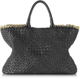 Ghibli Black Woven Leather Tote w/Chain
