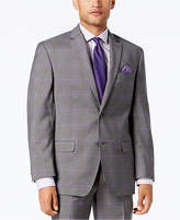 Sean John Men's Classic-Fit Stretch Gray/Purple Windowpane Plaid Suit Jacket