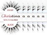 Christina 100% Human Hair False Eyelashes (#WSP-6Pack)