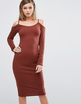 Club L Cold Shoulder Ribbed Midi Dress