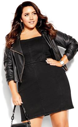 City Chic Sleek Denim Dress - black