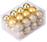 24pcs Christmas Balls Ornament Shatterproof Pendants for Holiday Xmas Garden Decorations (Gold)