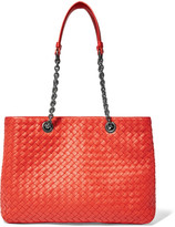 Bottega Veneta Chain Medium Intrecciato Leather Tote - Red