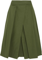 Jil Sander Pleated Cotton-poplin Midi Skirt - Army green