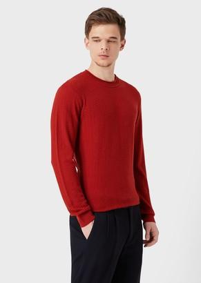 Giorgio Armani Virgin Wool Sweater With Chevron Design