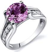 Peora Created Sapphire Solitaire Ring Sterling Silver Rhodium Nickel Finish 2.75 Carats Size 9