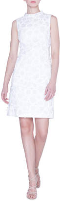 Akris Mock-Neck Flower-Jacquard Dress