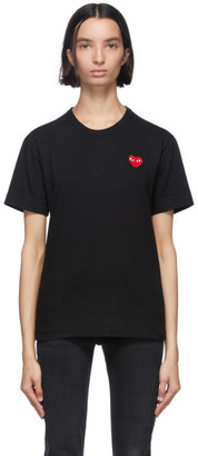 Comme des Garcons Black and Red Mens Fit Patch Heart T-Shirt