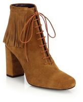 Saint Laurent Babies Fringed Suede Lace-Up Booties