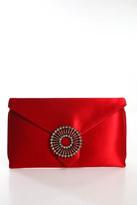 Wilbur & Gussie Red Satin Edith Steel Clutch Handbag New