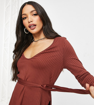 Club L London Tall ribbed plunge neck top set in burgundy