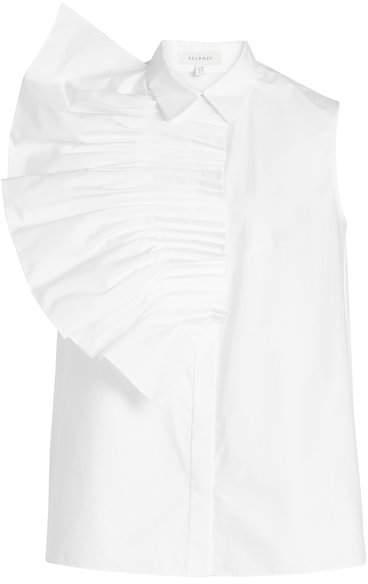 DELPOZO Pin Tuck Fan Sleveless Cotton Shirt