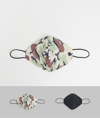 Topman 2-pack face coverings in camo