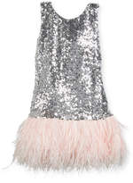 Zoë Ltd Cece Sequin Dress w/ Feather Hem, Size 4-6X