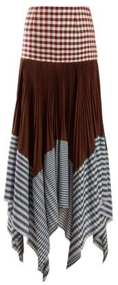 Loewe Asymmetric Pleated Gingham Handkerchief Skirt - Womens - Multi