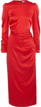 Zimmermann Ruched Stretch-silk Satin Midi Dress