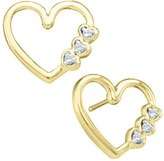 KATARINA 10K Yellow Gold 1/20 ct. Diamond Heart Earrings