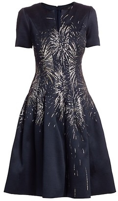 Oscar de la Renta Embroidered-Firework Cocktail Dress