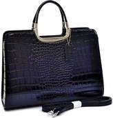 Dasein Women's Patent Shine Crocodile 2913-90017 - Black Shoulder Bags