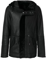 Yves Salomon Men's Black Leather Coat.