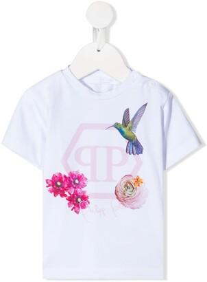 Philipp Plein logo floral print T-shirt
