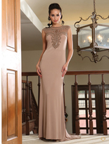 May Queen - Meshed Neckline and Illusion Back Sleeveless Long Dress RQ7377