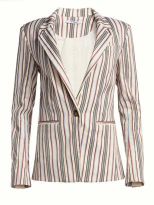 Derek Lam 10 Crosby Striped Tailored Ruffle-Trim Blazer