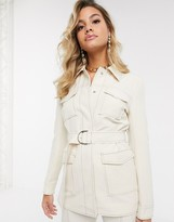 4th + Reckless belted suit blazer with contrast stitching in cream