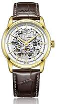Rotary Men's Automatic Watch with White Dial Analogue Display and Brown Leather Strap GS00345/02