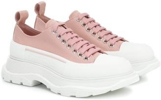 Alexander McQueen Tread Sleek canvas platform sneakers