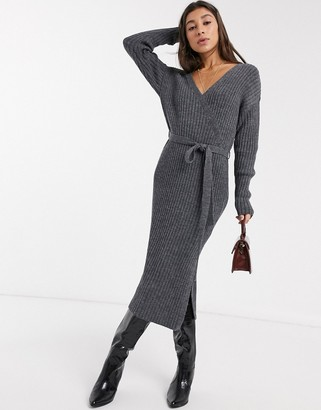 Asos DESIGN knitted wrap midi dress with belt detail