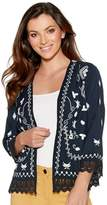 M&Co Embroidered lace trim jacket